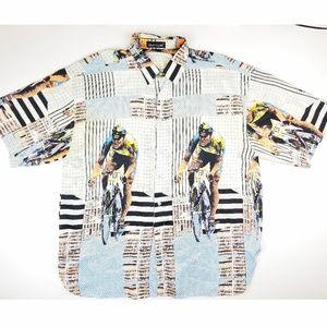 Vintage Silk Club All Over Prints Bicyclist Shirt